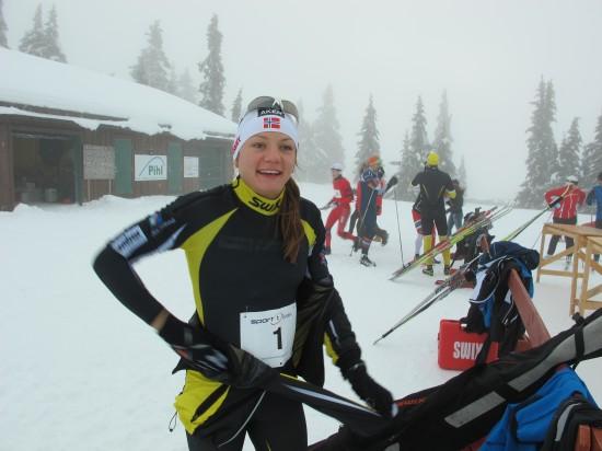 Maiken Caspersen Falla vant dameklassen i Romjulsrennet Sjusjøen 2012.